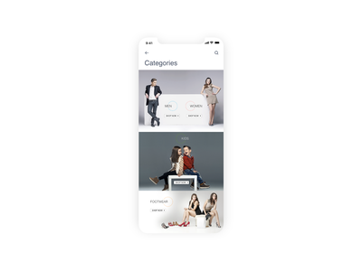 Categories page mobile app mobile user interface ui