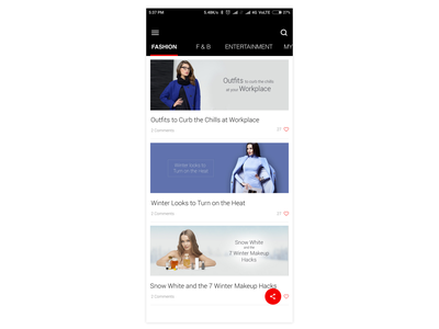 Blog page android mobile design user interface ui