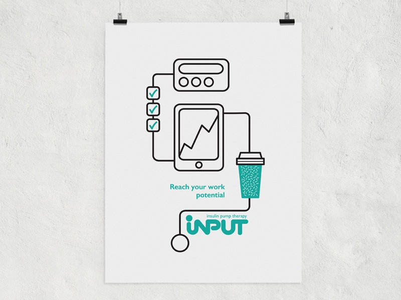 Insulin Pump Therapy Poster insulin branding simple graphic design work white fun identity poster diabetes illustration
