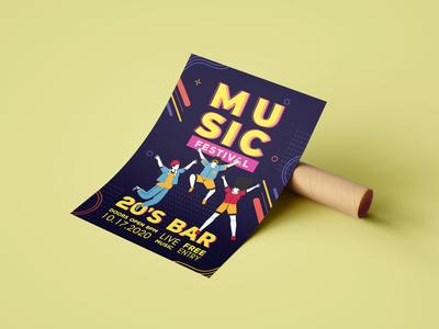 Music Festival Poster vector design illustration