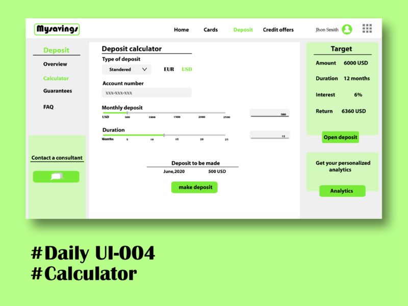 Calculator dailyui 004 web ui