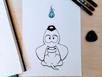 Inktober 2020 - Day 2 - Wisp sketch inking ink drawing art puppy dog wisp inktober2020 inktober