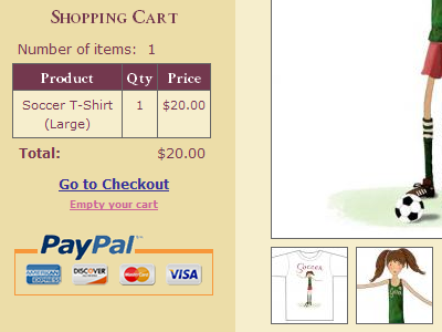 Shopping Cart - Soccer T-Shirt shopping store cart soccer t-shirt paypal