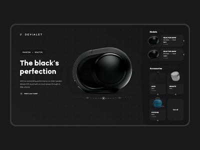 Devialet black Reactor redesign web flat minimal design vector black product design reactor hifi redesign ux experience ui devialet