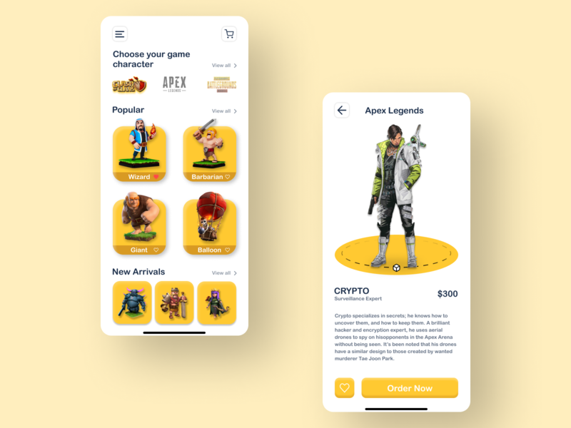 Game Character Purchasing App