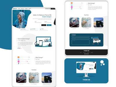 Theme Me - Personal Landing Page web illustration flatdesign vector logo flat design minimal ux ui