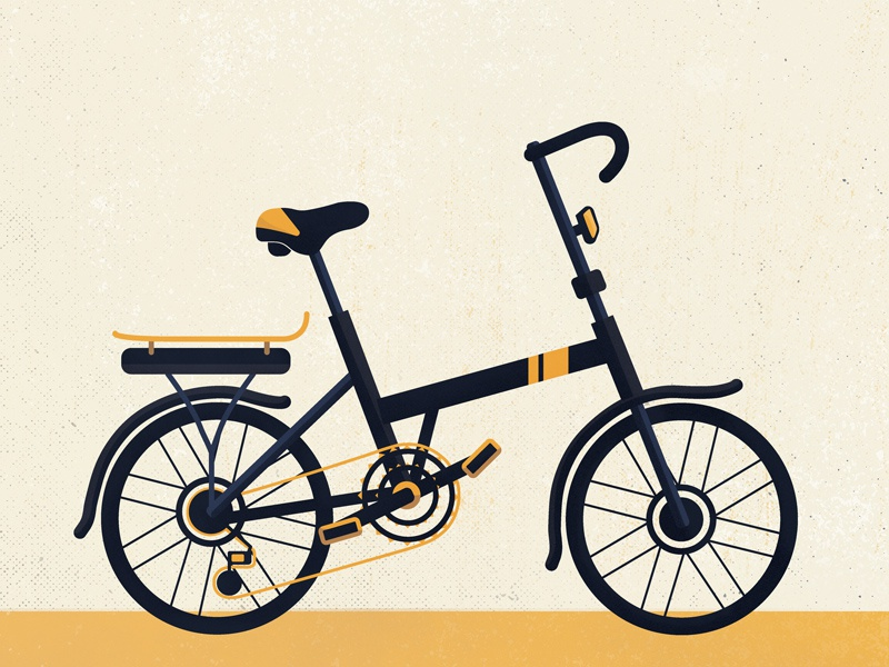 Bike 001 flat illustration bike bicycle gold noise dissolve grain