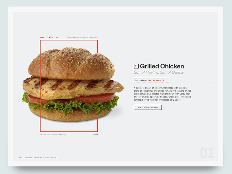 Build Your Chicken geometric food grilled card ui web chicken