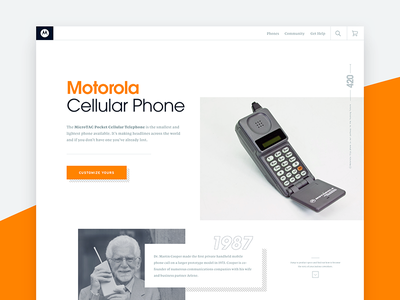 Flip ui type grid design web motorola phone
