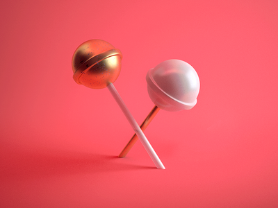 Overpriced Snacks porcelain lollipops gold snacks pops minimal c4d cinema 4d 3d