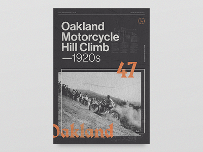 Oakland Motorcycle Club damn life chains harley texture blackletter hill climb oakland motorcycles layout poster