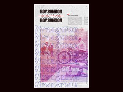 Samson—1932 poster great britain duotone texture typography type geo layout blackletter samson boy samson strongman