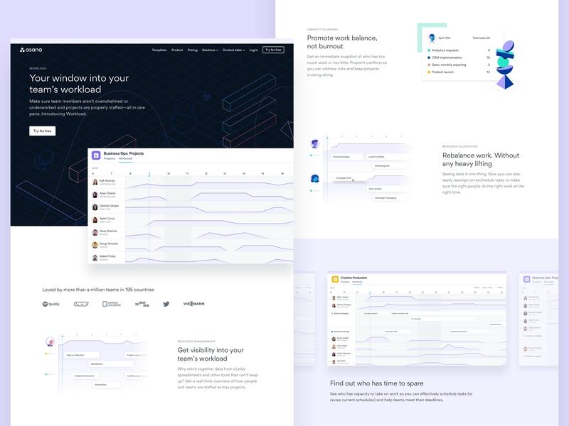 Workload — Landing page workload landing page type asana design web illustration grid typography layout ui