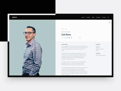 2016 Matrix Partners redesign—Team profile motion study profile matrix carousel pagination team vc interaction animation layout typography ui motion