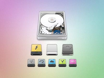 HDRV+ esxxi icon hard-drive set internals externals colours colors aluminium