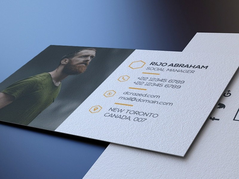 Clean business Card Free psd template free business card