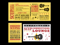2018 SCUP Collateral condensed hat cowboy guitar country music signage nashville hatch show print flat woodtype texture print branding typography