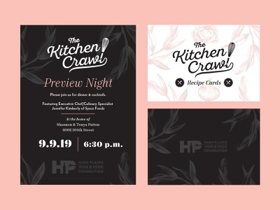 High Plains Wine & Food Foundation cooking chefs kitchen invitations floral print branding typography logo