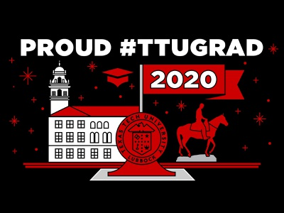 Texas Tech University Graduation 2020 typography college university lubbock texas tech graduation cap illustration monoline 2020 graduation