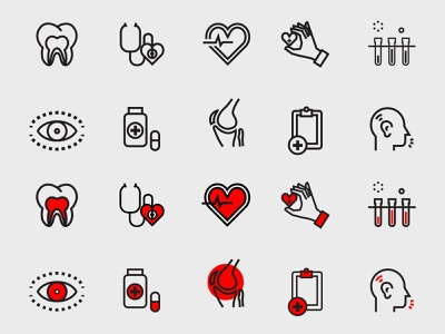 Pre-Health Professions Icon Set healthcare heart lab medical icons icon set medicine texas tech education university college