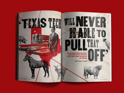 Texas Tech University Vet School Spread texas tech texas retro illustration typography veterinary education university magazine