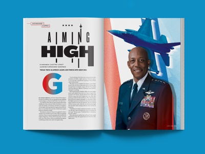 Evermore Magazine: General Charles Q. Brown illustration texture spread jet fighter air force texas tech education magazine print branding typography