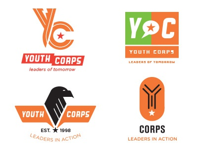 Y Corps logo concepts design typography logo y youth corps eagle dog tag lightning bolt