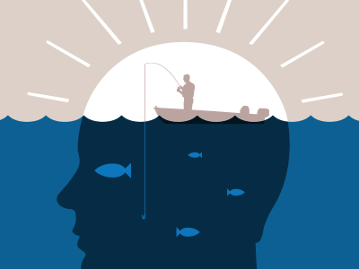 Fishing for ideas... blue fisheye duality hook brain sun mind person fishing boat illustration design