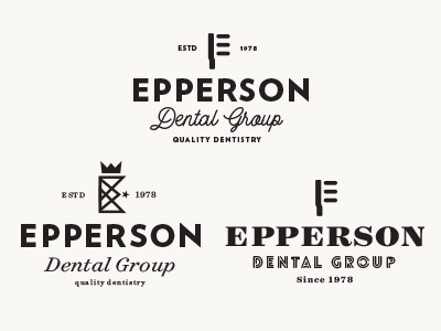 Epperson Dental Group san serif script group e king crown tooth brush dental dentist typography design logo