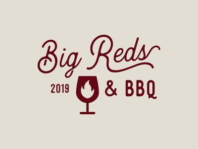 Big Reds & BBQ Logo smoke fire texas bbq wine script typography branding design logo