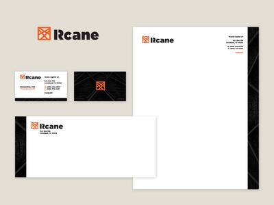 Rcane Stationery mock-up business consulting typography print envelope letterhead business card mockup stationery branding d logo design