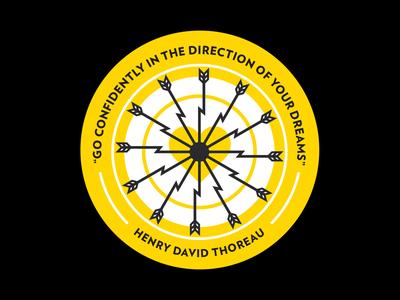 Dream Coaster illustation dream bullseye quote thoreau arrow heart flat sticker print