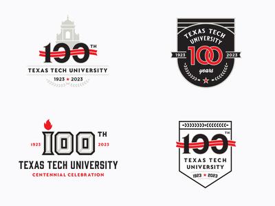 Texas Tech University Centennial Logos badge vector rings flame bell tower univeristy texas tech centennial 100 typogaphy logo