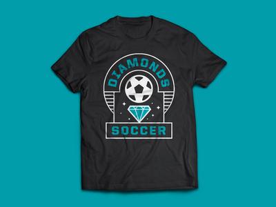 Diamonds Soccer T-shirt screenprint typography mockup soccer ball diamond tshirt soccer logo