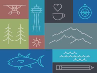 SCUP Seattle Icon set sea plane branding sun illustration waves pencil fish compass coffee space needle seattle mono line icons