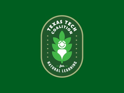 Texas Tech Coalition for Natural Learning badge grow education learning nature children typography leaf logo