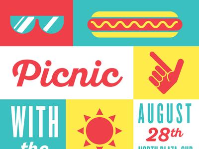TTU Picnic with the President university education texas tech bright summer sun sunglasses hot dog flat icon typography illustration poster