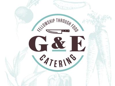 G&E Catering Logo engraving branding vegetables knife food catering illustration typography logo