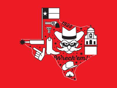 Texas Tech University Branded T-shirt bell tower gun cotton university texas tech raider red cowboy hat cowboy spur texas icons illustration tshirt