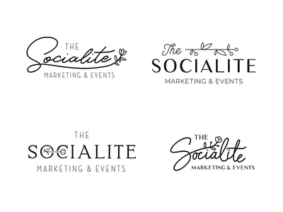 The Socialite upscale social flower marketing events retro script typography logo