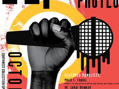 Hip Hop as Protest Poster black fist texture microphone protest hiphop print illustration typogaphy poster