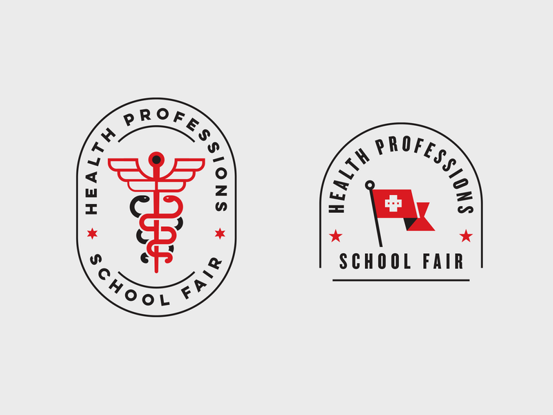 Health Professionals School Fair branding professionals school stars texas tech university fair typogaphy flag caduceus healthcare badge logo health
