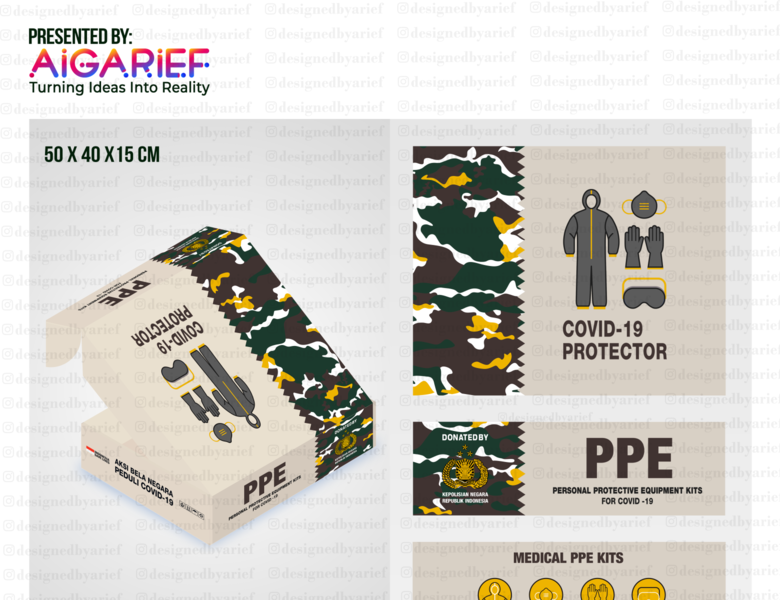 ARMY PORLI PPE (Personal Protective Equipment) Box Design goverment indonesia adobe photoshop branding graphic design adobe illustrator design clean updated awesome design