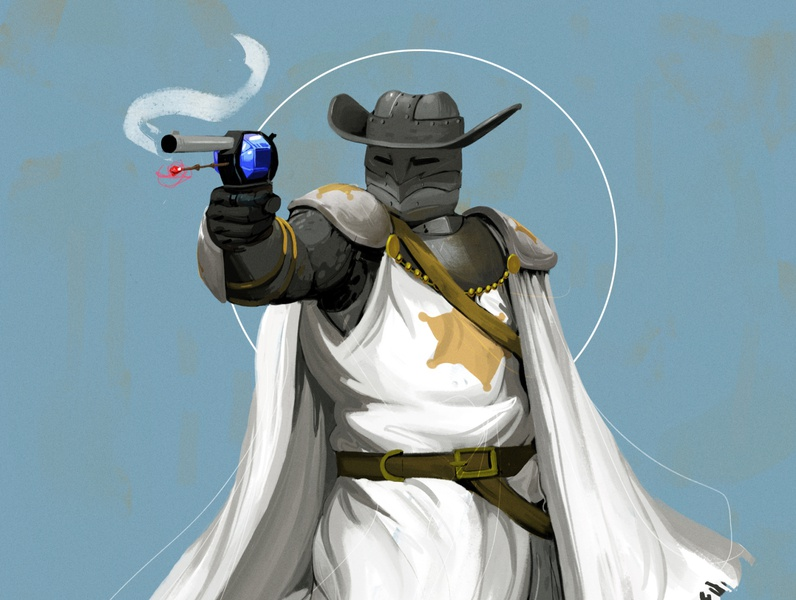Sheriff Knight Commission concept dnd knight cowboy characterdesign art design illustration 2d illustration digital painting digital art digital 2d art