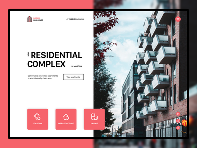 Home Screen Residential Complex ux ui home screen website webdesign residential housing flats building apartments complex architechture preview home design beautiful web concept