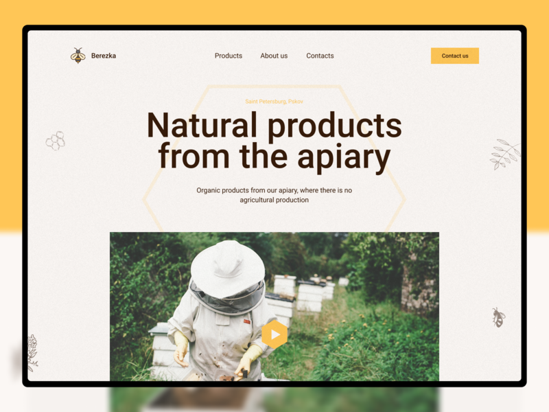 Honey apiary design website web landingpage organic honey food ecologic beefarm bee apiary