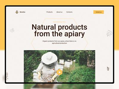 Honey apiary design website web landingpage organic honey food ecologic beefarm bee apiary