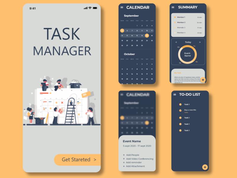 Task Manager UI design ux app ui