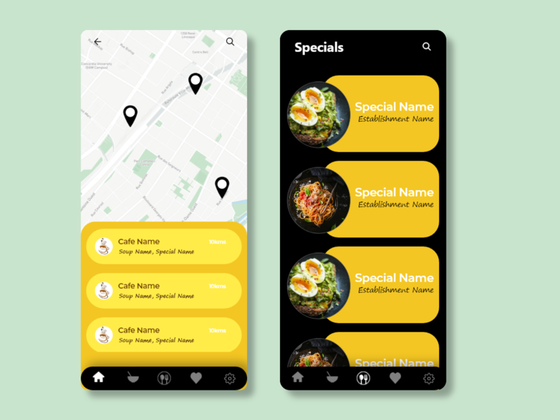"UI for ""Cafes near me"" design ux app ui"