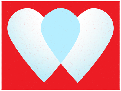 Collaboration illustration icon texture blue collaboration heart valentines red